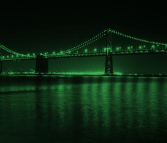 Oval small san francisco bay bridge night